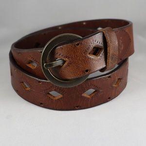 Dockers Decorative Brown Leather Belt Size M